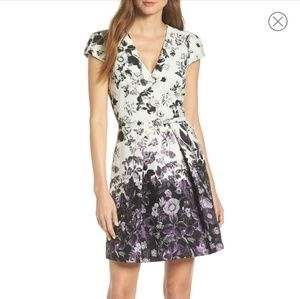 Vince Camuto Purple Floral Fit & Flare Dress